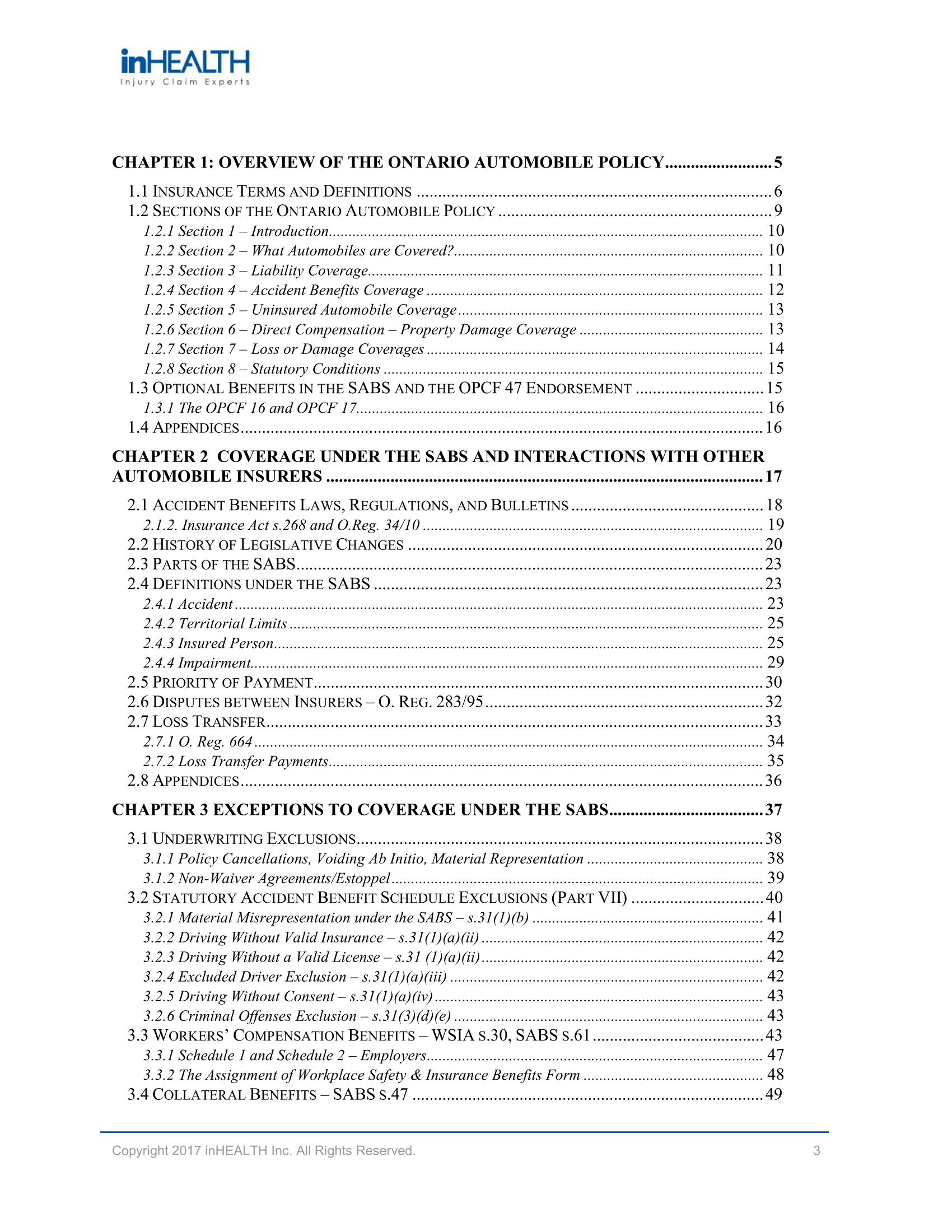 inHEALTH SABS 1 Manual Table of Contents-1